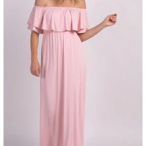 PinkBlush Off Shoulder Ruffle Trim Maxi Dress